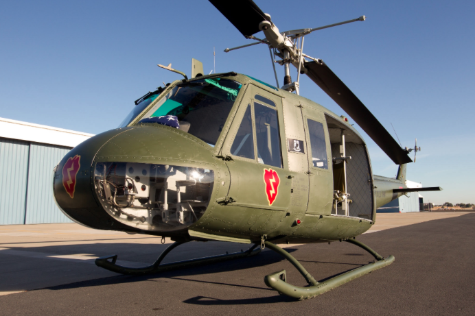 "The Bell UH-1H Iroquois, also known as ""Huey,"" is one of the three original Vietnam War-era helicopters that will be on display outside of the National Archives Building. The UH-1H Iroquois served in the Vietnam War from 1967 to 1970. Lyle Jansma Photo"