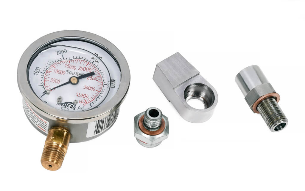 The 2500 PSI Pressure Valve set is ideal for aviation jobs where monitoring and limited application of lubricant pressure are required. Snap-on Photo