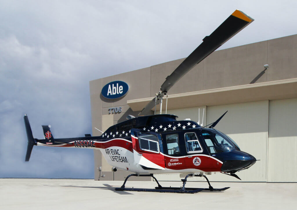 Under the contract, Able will be the exclusive service provider for component repair and overhaul services for Air Evac Lifeteam's fleet of 128 Bell 206 aircraft. Able Aerospace Photo