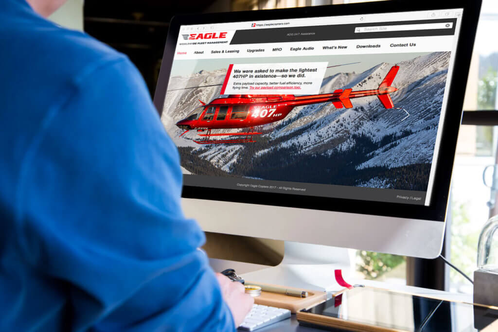 Eagle's new overhauled new website was developed to be user friendly, perform optimally for users on any device, and fully share the talent, scope, and global reach of the organization. Eagle Copters Photo