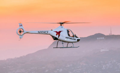 Anthelion Helicopters flying the Cabri G2 over the Long Beach skyline. Revolution Aviation and Anthelion Helicopters operate the two Cabri G2's in the Los Angeles area, and they both are available for flight training. Anthelion Helicopters Photo
