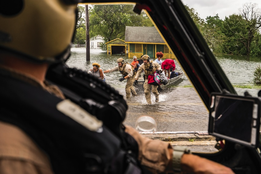 A Customs and Border Protection (CBP) Black Hawk crew rescues flooding victims in Port Arthur, Texas, in the wake of Hurricane Harvey. Edwin Montufar Photo