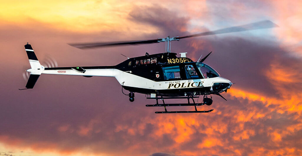 Able Aerospace is qualified to serve the Tucson Police Department's fleet of Bell Jet Ranger 206B3s (pictured here) with one of the world's largest Bell Helicopter parts exchange pools. Able Aerospace Photo
