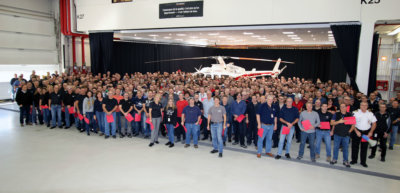 All Bell Helicopter Mirabel employees gathered around the 5,000th aircraft in the facility's delivery center for a special ceremony. Bell Helicopter Photo