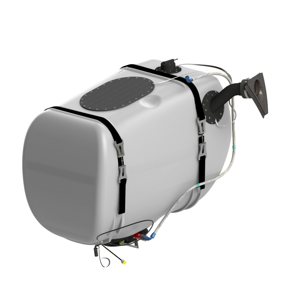 The tank's unique design features a robust crash-resistant fuel bladder, and it uses several innovations including magnetic field sensor fuel gauging technology and vent system roll-over protection. Robertson Fuel Systems Photo
