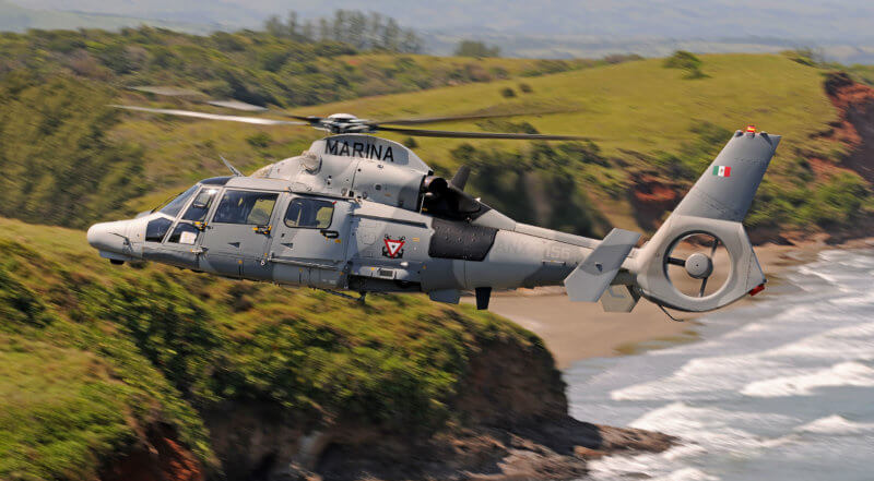 The AS565 MBe is equipped with two Safran Arriel 2N engines, which enhance its performance in hot and high conditions and enable it to achieve a top speed of 278 kilometers (172 miles) per hour. Anthony Pecchi Photo