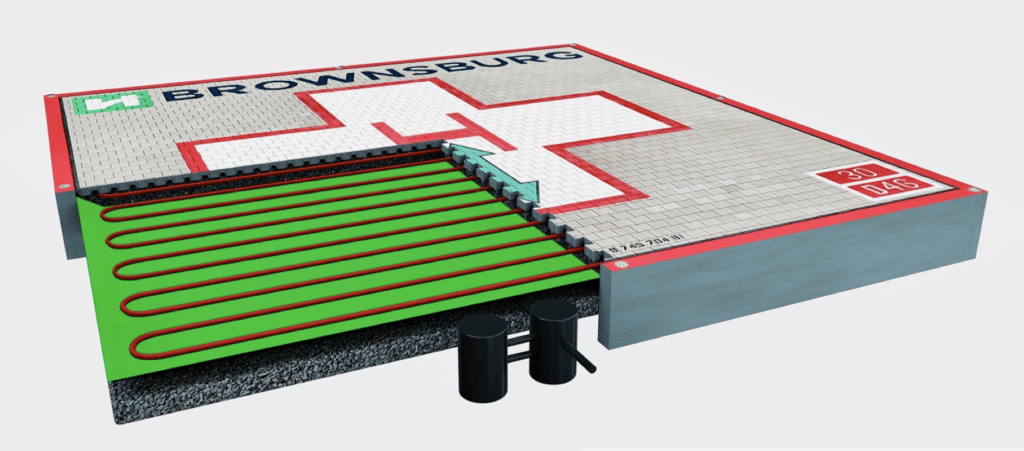 An illustration of a Lily Helipads helipad design, where the grey is the porous surface, the green is the environmental liner, the red is the heat to melt ice or snow, and the black is the oil and water separator. Lily Helipads Image