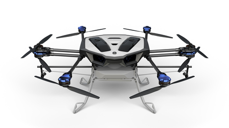 The YMR-01 is an industrial drone combining coaxial rotor technology with the latest weight-reduction technology. Yamaha Motor Photo