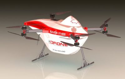 The Raven X1400 delivery drone is engineered to provide pay load capacities of up to 25 pounds and is designed to fly approximately 60 kilometers (37 miles).