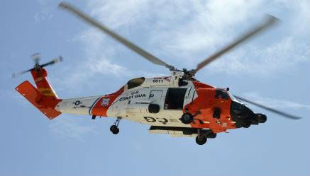 The Jayhawk helicopter crew was diverted from Dutch Harbor, Alaska, to medevac a man who was suffering from a hernia from the Golden Alaska fishing vessel. USCG Photo