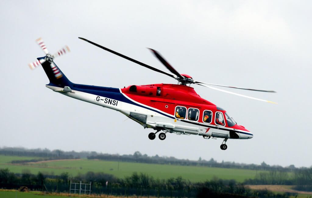 A combination of Leonardo AW139 (pictured here) and AW169 helicopters will begin flying out of Humberside heliport from April 2018 to support the construction and support phases of Ørsted's Hornsea Project One--which is expected to be the largest wind farm in the world. CHC Photo