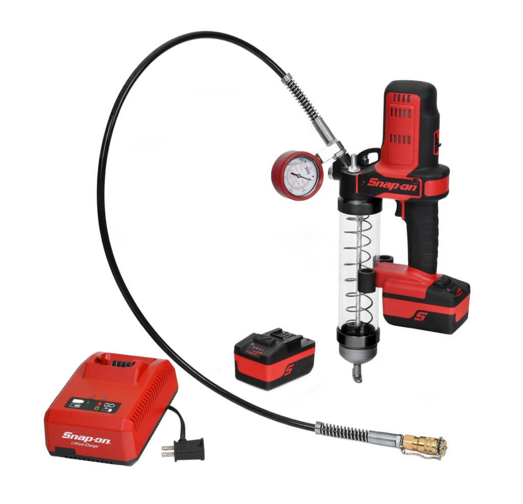 Snap-on's Cordless Grease Gun Kit limits lubricant pressure to 2500 PSI, allowing technicians to easily add lubricant and get back to work immediately. Snap-on Image