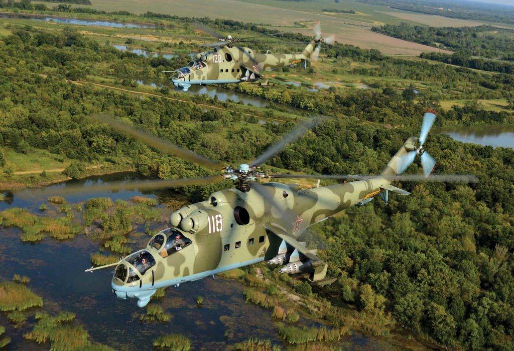 The Mi-24D airframe is all metal and steel-reinforced, with armored forward fuselage, engine compartments, and gearboxes. Skip Robinson Photo