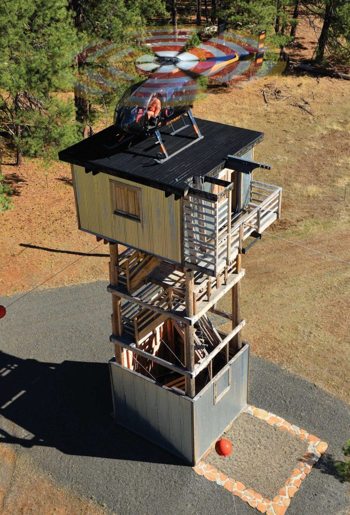 Landing on a tower at Brim's training site. Rescue and special mission operators can train in a realistic environment with Air Rescue Systems (ARS). Skip Robinson Photo