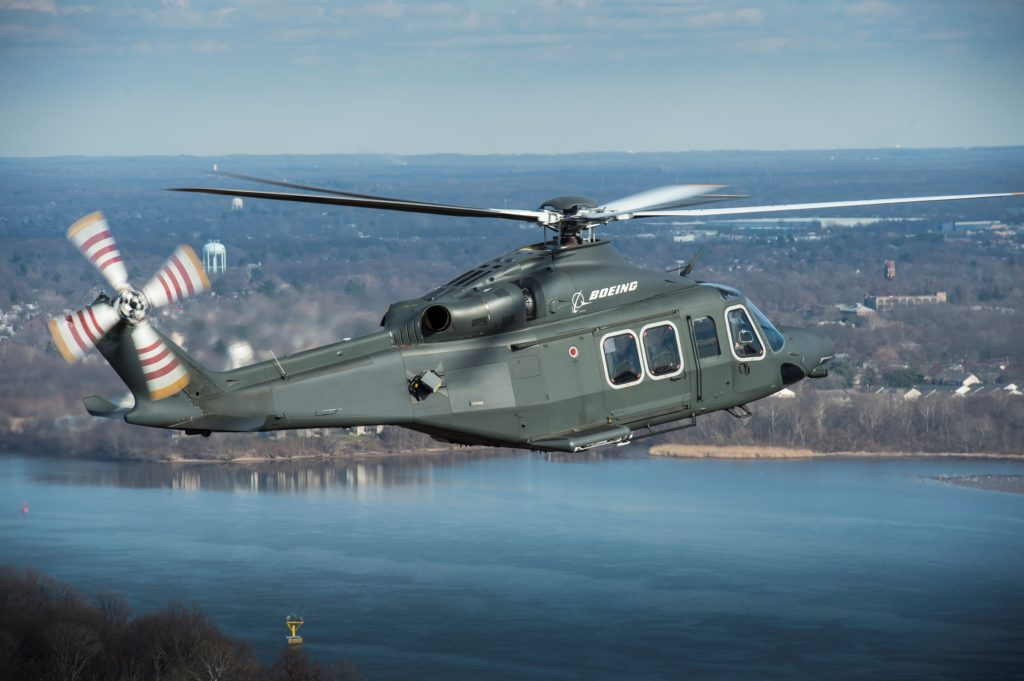 Boeing and Leonardo have teamed to offer the Air Force the MH139, a variant of the AW139. The companies declined to comment on Sikorsky's protest. Boeing Photo