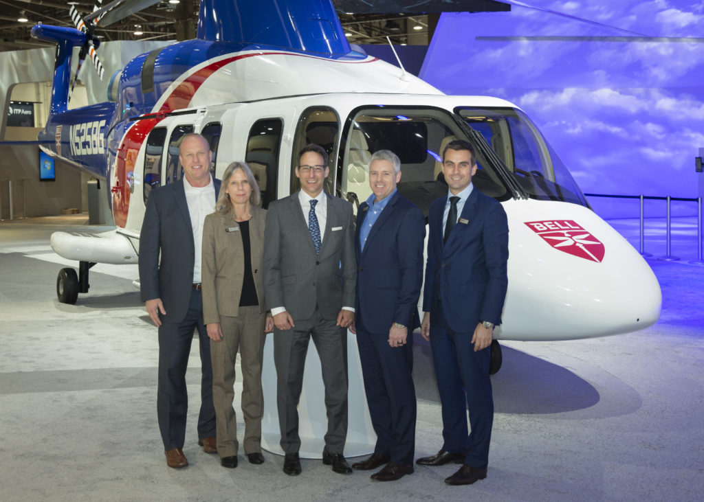 Bell is displaying a 525 Relentless in Bristow livery at HAI Heli-Expo 2018 in Las Vegas, Nevada. Bell Photo