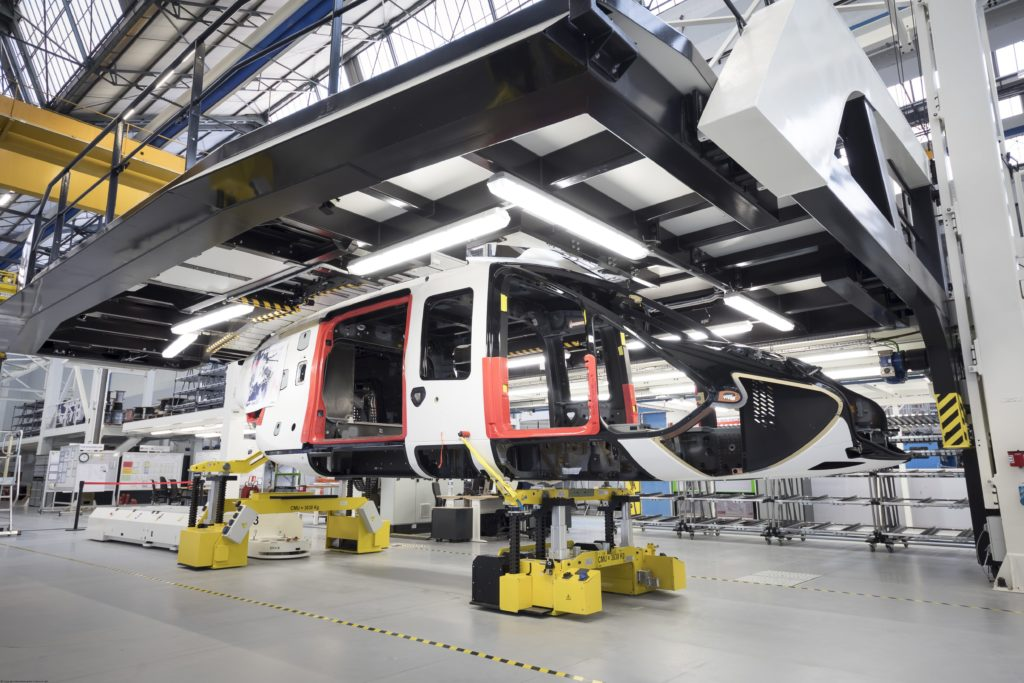 PS2 sits on the newly-built H160 final assembly line in Marignane, France. This aircraft will be the first delivered to a customer following the aircraft's certification in 2019. Airbus Helicopters Photo