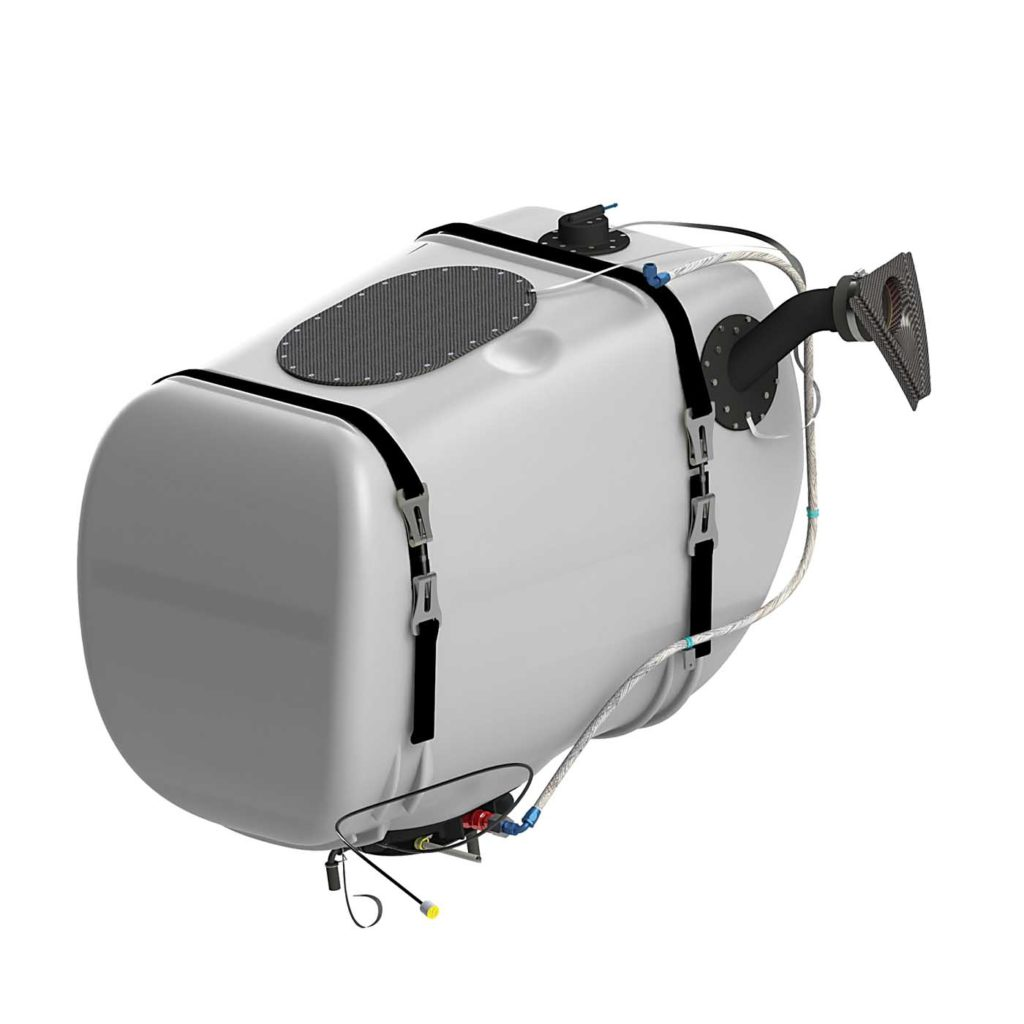 Robertson Fuel Systems and StandardAero recently received FAA STC approval for a retrofittable crash-resistant fuel tank for Airbus AS350 series helicopters. Robertson Photo