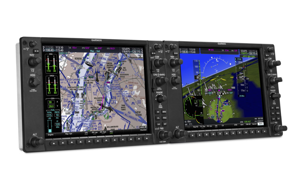 The G1000H NXi features a pilot-selectable split-screen capability that allows for two or more separate page views to be displayed simultaneously. Garmin Photo