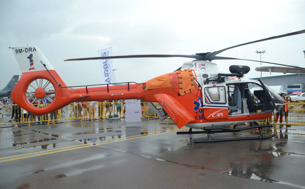 On static display at the Singapore Airshow are the single-engine H130 and twin-engine H135 helicopters.