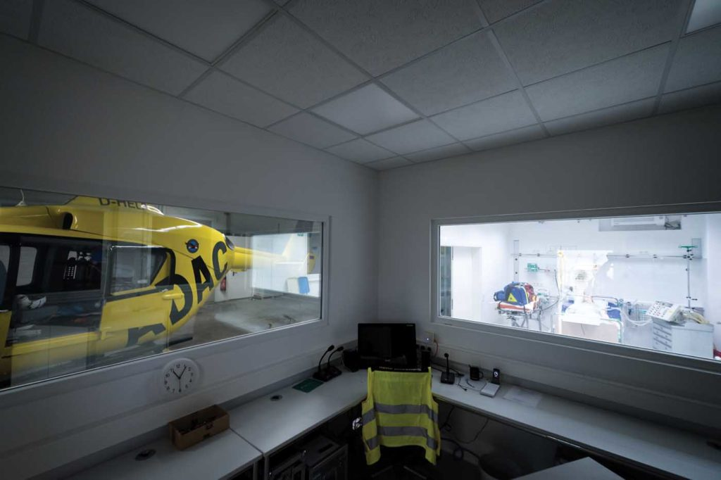 The view from the director's station of a full-scale BK117 mock-up on the left, and on the right the shock-room that provides the medical training element of the HEMS Academy. Lloyd Horgan Photo