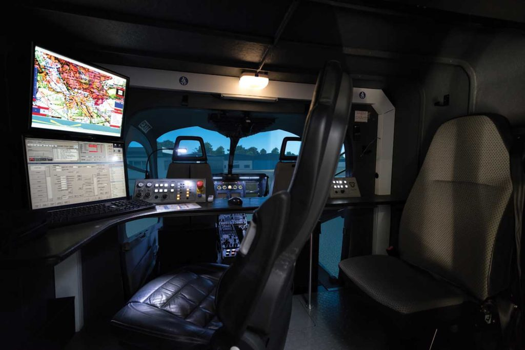 Two full-flight simulators from QinetiQ cueSim, replicating the EC135 P2e or T2e and the BK117 C-2, are certified to EASA Level A. Lloyd Horgan Photo