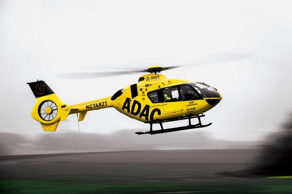 One of ADAC's EC135s returns to its base in Aachen, close to the border with the Netherlands. Lloyd Horgan Photo