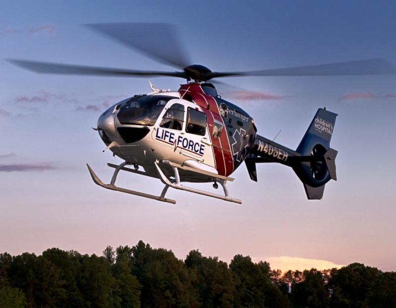 An Airbus EC135 P2+, operated by AMGH subsidiary Med-Trans on behalf of Erlanger Life Force. AMGH Photo