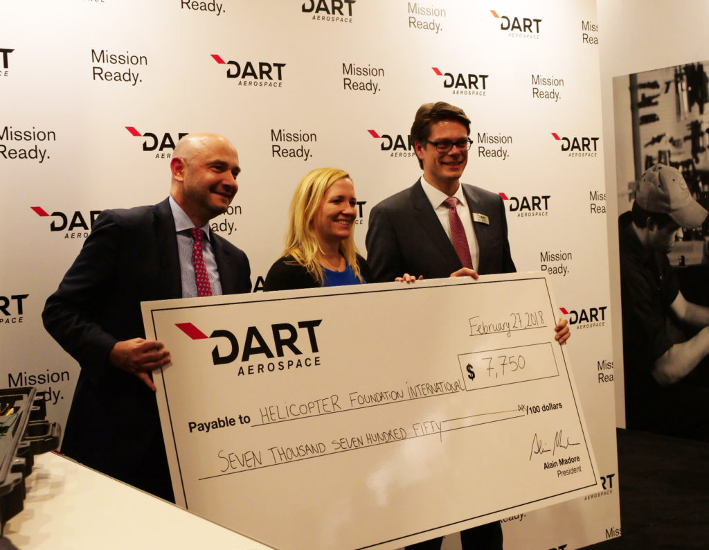 DART raised $7,750 for the Helicopter Foundation International during its annual cocktail event at Heli-Expo 2018. DART Aerospace Photo