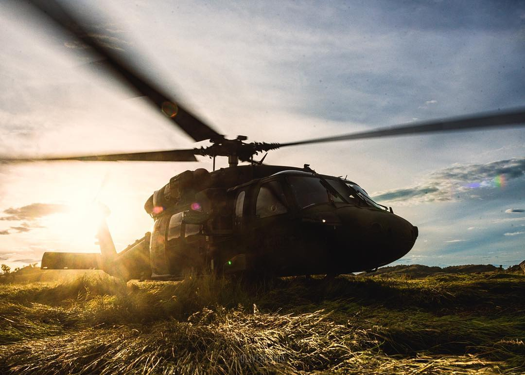 A Sikorsky UH-60 Black Hawk preparing for a sunset flight. Photo submitted by Oliver Ehmig (Instagram user @oliverehmig) using #verticalmag