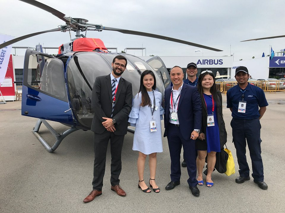 Geoffroy Cahen head of marketing sales (far left) and Thierry Tea (third from left) stand with some of the Airbus team at the 2018 Singapore Airshow. PhilJets Photo