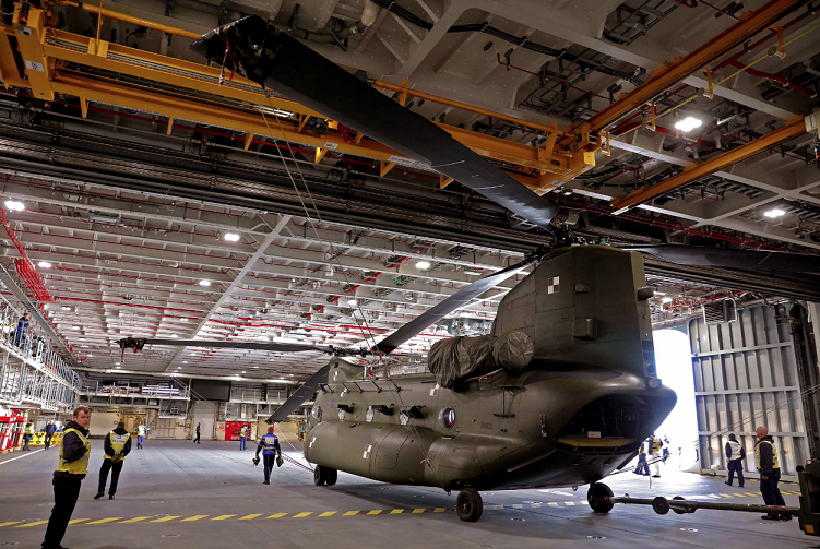 The lifts and hangar spaces on the HMS Queen Elizabeth warship are so large that there is no need to fold the rotors. Royal Navy Photo