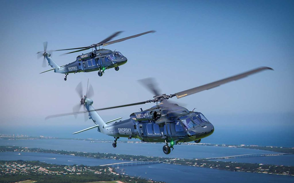 Two S-70i helicopters are available for flight training at the Sikorsky Training Academy (STA) in Stuary, Florida. The first S-70i airframe is also serving at STA as a static maintenance trainer. Sikorsky Photo
