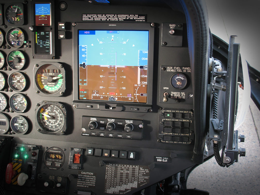 Universal Avionics has completed ground testing on a new flight deck for the Sikorsky S-76B, featuring advanced flight displays. Universal Avionics Photo