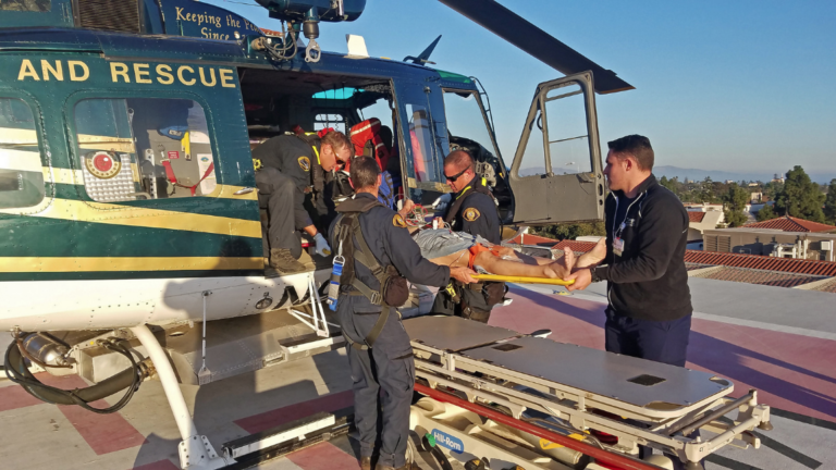 Copter 4, a Bell UH-1H operated by the Santa Barbara Sheriff's Department, medevacs a man from Platform Hill House who suffered from an industrial accident. Matt Udkow Photo