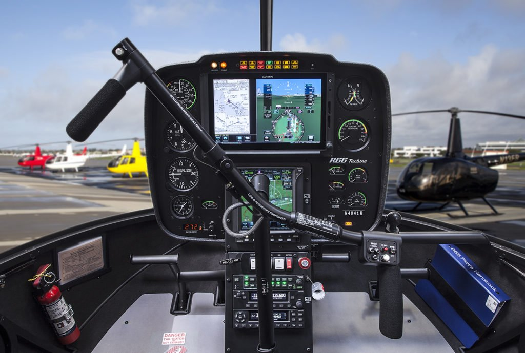 The Garmin Display Unit (GDU) 1060 TXi is a 10.6-inch display installed in Robinson's large G500H console.