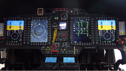 The upgraded avionics in a U.S. Coast Guard MH-65E cockpit. Rockwell Collins Photo