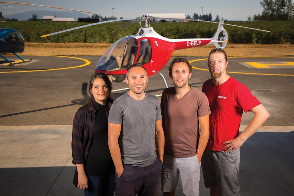 The Gelb family is front and central at BC Helicopters. From left: Amy Gelb (office administrator), Mischa Gelb (president), Sancho Gelb (vice president), Tey Steenbergen (aircraft maintenance engineer). Heath Moffatt Photo