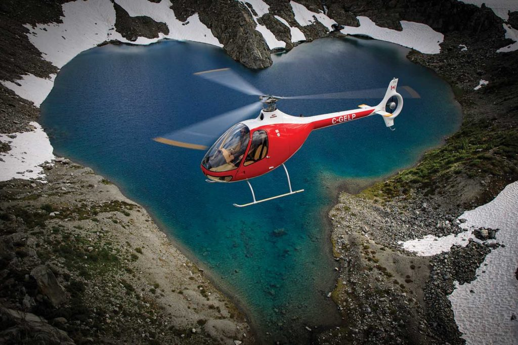 In love with the Cabri... A BC Helicopters Guimbal Cabri G2 is framed by a heart-shaped lake during a photo shoot just north of Abbotsford, British Columbia. Heath Moffatt Photo