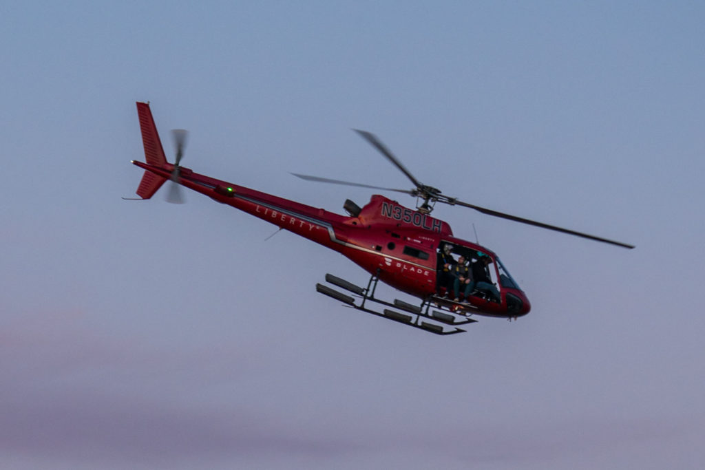 Photographer Eric Adams, who was on another FlyNYON photo flight on the evening of March 11, captured this shot of the accident helicopter shortly before it went down in the East River. Eric Adams Photo