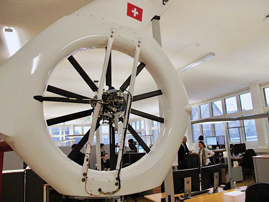 The tail rotor of P1, which now resides inside Kopter's design office in Wetzikon. Thierry Dubois Photo