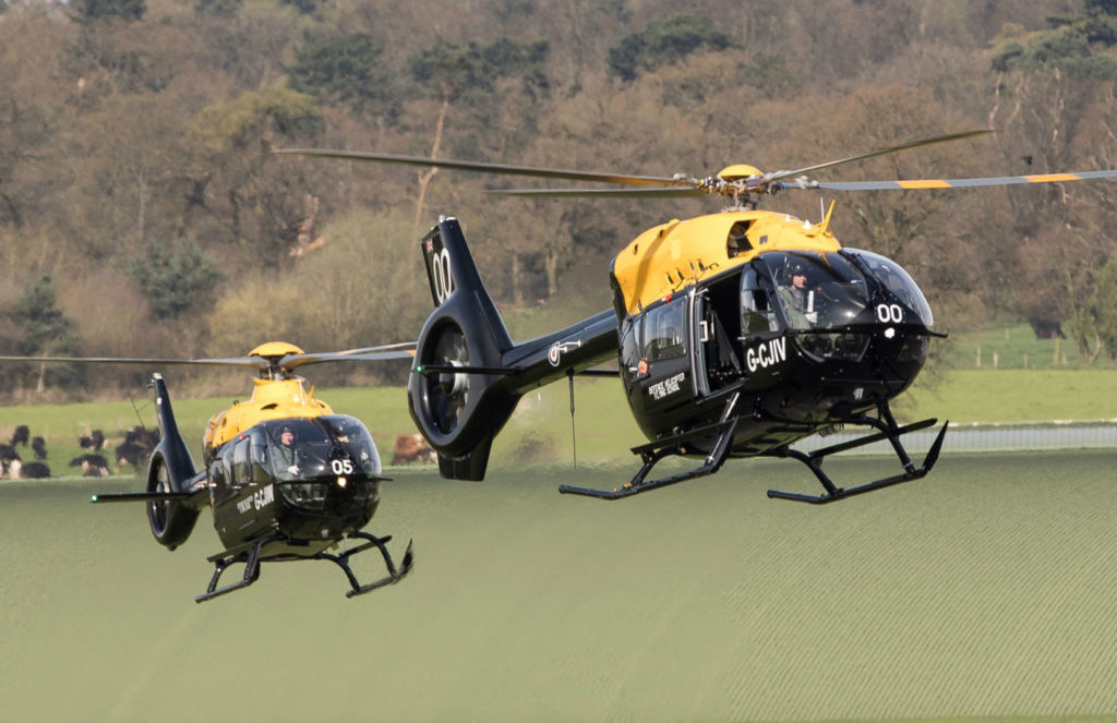 An H135 Juno and H145 D2 Jupiter fly into RAF Shawbury. Airbus Helicopters Photo