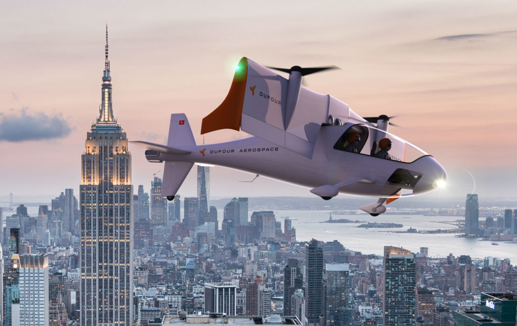 The aEro 2 will offer fast air transportation at the same cost per kilometer as a car, but with less environmental impact. Dufour Aerospace Photo.