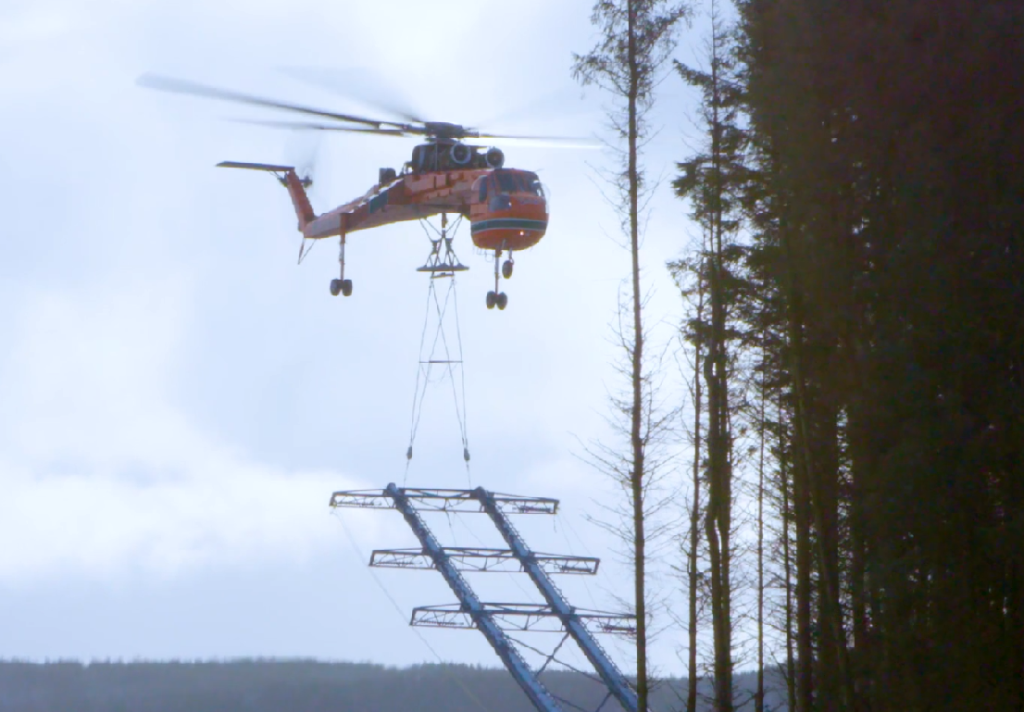 Innovative project in Scotland connects a substation with wind energy generation by an Aircrane