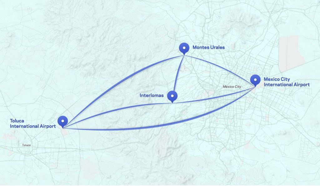 Above is a map of Voom's routes in Mexico City. Airbus Helicopters Photo
