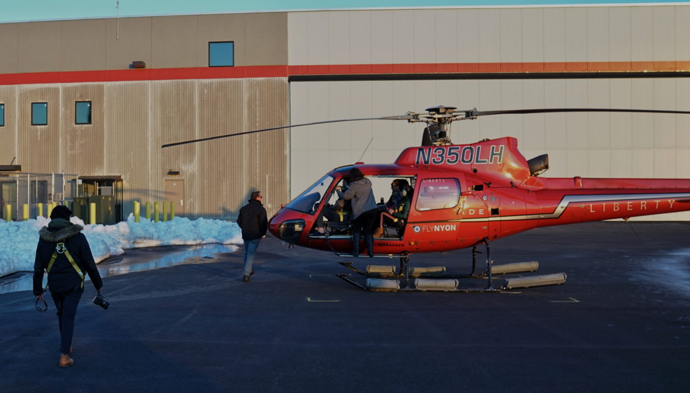 FlyNYON passengers are loaded onto the helicopter that would come down in New York City's East River on March 11. Eric Adams Photo