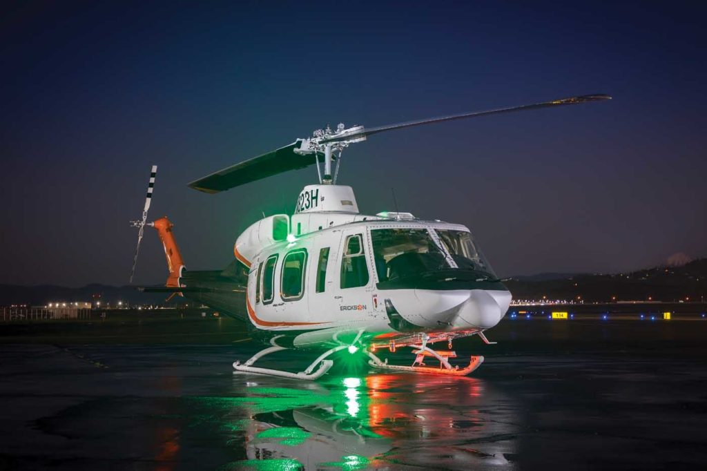 Erickson's success with the Bell 214 is one of the reasons its maintenance, repair, and overhaul division has seen such dramatic growth over the last few years. The company hopes to grow the unit's revenue by 30 to 40 percent in 2019. Heath Moffatt Photo