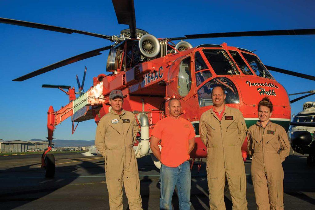 From left: senior training captain Eric Van De Walker; mechanic Jason Hampton; crew chief Richard Foote; and pilot and sales manager Alba Castellanos. Heath Moffatt Photo
