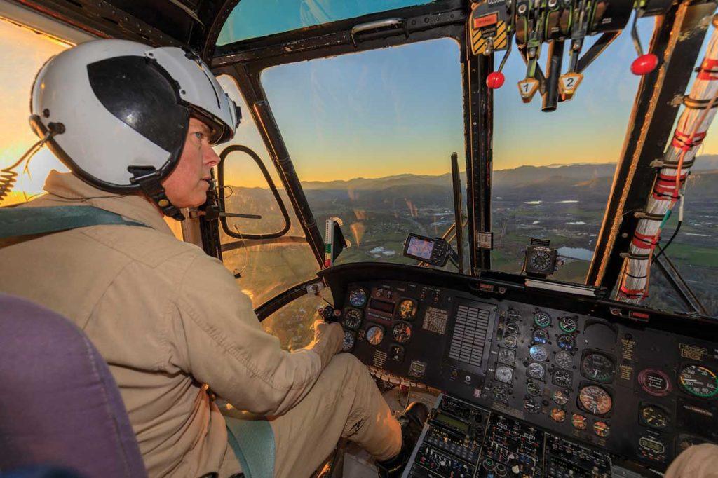 Erickson Inc. senior training captain Eric Van De Walker at the controls of an S-64 near the manufacturer's facility in Medford, Oregon. Heath Moffatt Photo