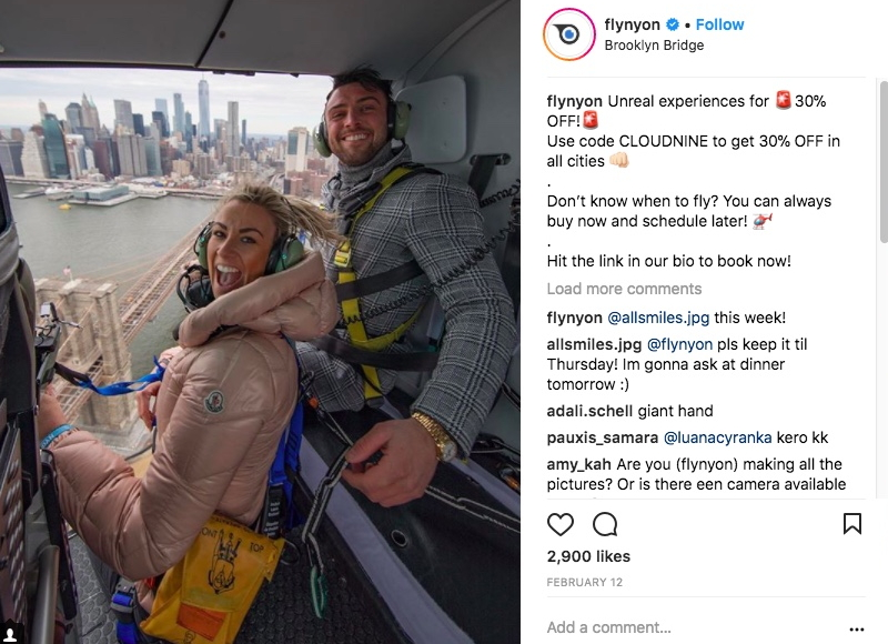 This recent photo from FlyNYON's Instagram shows both blue and yellow harness styles, as well as the thick nylon/Dyneema tethers the company was using. Screenshot from instagram.com/flynyon